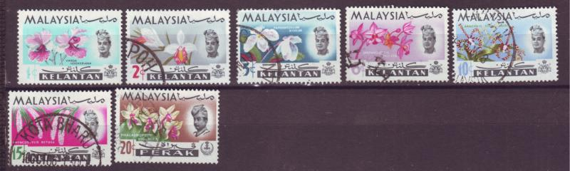 J18014 JLstamp  [low price] 1965 malaya kelantan set mh/used #91-7 flowers