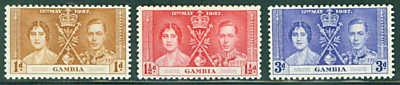 GAMBIA Scott 129-31 MH* Coronation set MH* 1937