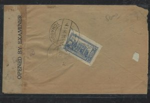 AFGHANISTAN  COVER (PP1404B) 1944 CENSORED COVER TCHAOUK TO PESHAWAR
