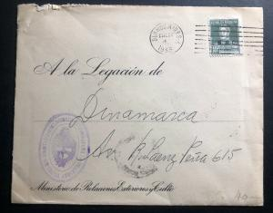 1933 Buenos Aires Argentina Official Diplomatic  Cover To Denmark Legation