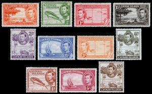 Cayman Islands Scott 100-108, 110-111 (1938-43) Mint H F-VF, CV $53.20 M