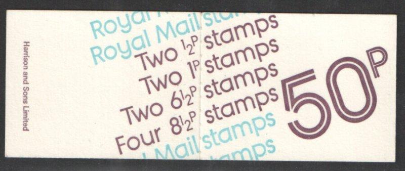FB1a 1976 March 50p Decimal Machin Folded Booklet - good perfs