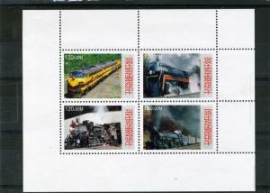 Turkmenistan 2000 Trains Locomotives Sheet Perforated mnh.vf