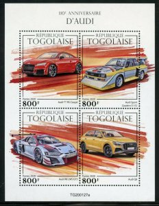 TOGO 2020  110th ANNIVERSARY OF AUDI   SHEET MINT NEVER HINGED