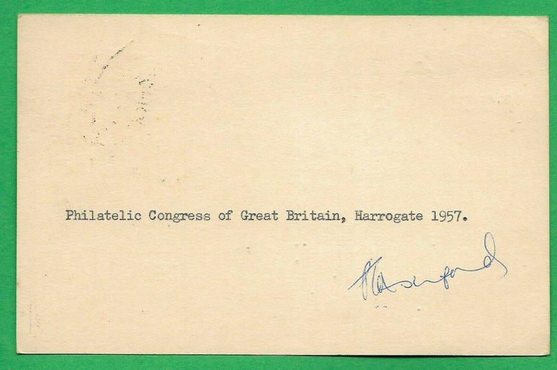 GB 1957 Pre Paid Postal Stationery 39th Philatelic Congress HAROGATE 15 May
