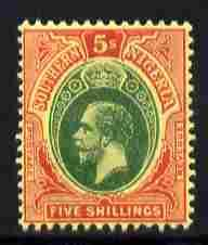 Southern Nigeria 1912 KG5  MCA 5s green & red on yell...