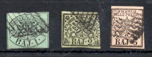 Italy Papal States 1852 1, 2 & 5 BAJ used collection WS13162