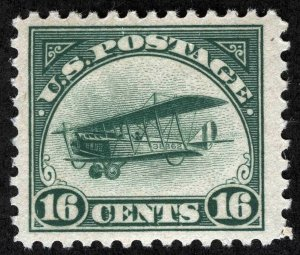 US Sc C2 Green 16¢ Light Hinge Original Gum 1st Airmail Issue