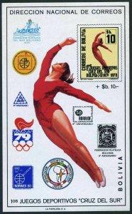 Bolivia 640a,MNH.Michel Bl.90. Southern Cross Sports Games,1979.Gymnast,Olympic.