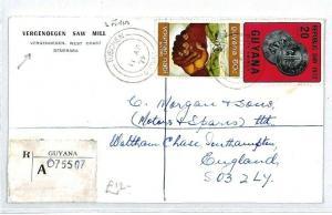 GUYANA Tuschen GB Southampton REGISTERED 1972 Vergenoegen{samwells-covers} CW205