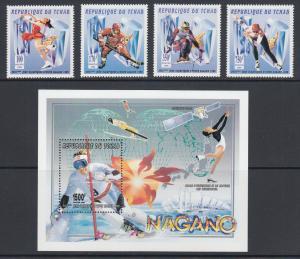 Chad Sc 688-692 MNH. 1996 Nagano Winter Olympics incl. Souvenir Sheet, fresh, VF