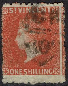 ST VINCENT 1875 QV 1/- WMK STAR PERF 11.5 X 15 USED