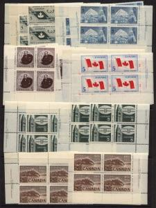 Canada - 1965 Issues Plate Blocks - 6 Different Matched Sets