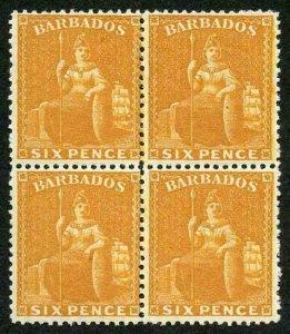 Barbados SG79w 6d chrome-yellow perf 14 Superb Fresh Mint Block of 4