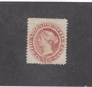NEWFOUNDLAND # 28  VF-MH  12cts  QUEEN VICTORIA PALE RED BROWN  CAT VALUE $120