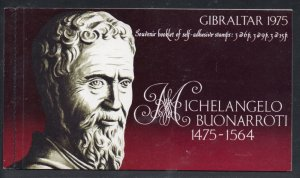 Gibraltar Sc 328a 1975 Michelangelo stamp booklet mint NH