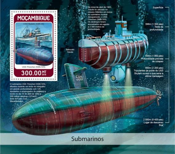 MOZAMBIQUE - 2018 - Submarines - Perf Souv Sheet - MNH