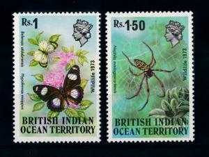 [70733] British Indian Ocean Territory 1973 Butterflies Spider From set MNH