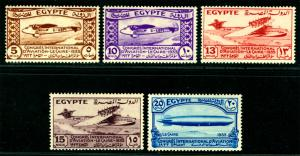 EGYPT 1933  Aviation Congress - ZEPPELIN - set  Sc# 172-176  mint MLH