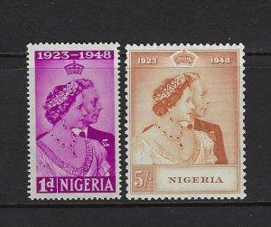 NIGERIA SCOTT #73-74 1948 GEORGE VI SILVER WEDDING- MINT LOW VALUE NH/TOP LH