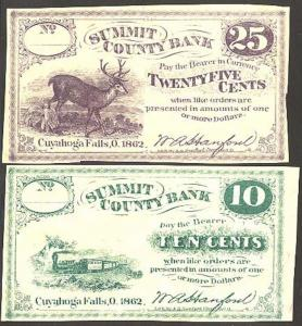 1862 FRACTIONAL SCRIPT VERY RARE LOT OF 5