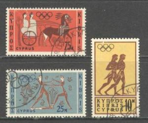 CYPRUS Sc# 241 - 243 USED FVF Set of 3 Olympics