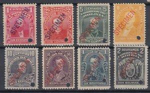 Bolivia 1913 Complete Set with Specimen overprint. MNH. Scott 103-110var