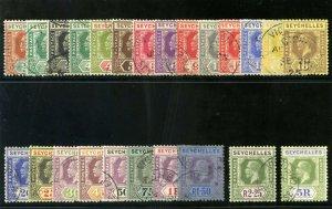 Seychelles 1921 KGV set complete very fine used. SG 98-123. Sc 91-114.