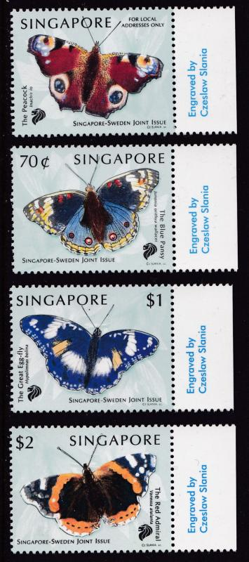 Singapore 1999 Butterflies Stamps (4)Souvenir Sheet Post Office Fresh NH