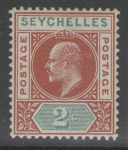 SEYCHELLES SG46a 1903 2c CHESTNUT & GREEN DENTED FRAME MTD MINT