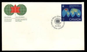 Canada-Sc#977-stamps on FDC-Maps-1983-