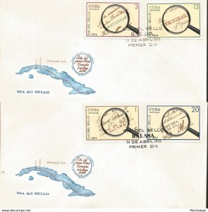 J) 1974 CARIBE, SEAL DAY, MAGNIFYING GLASS, MAP, MULTIPLE STAMPS, SET OF 2 FDC