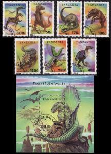Tanzania Fossil Animals 7v+MS CTO SG#1799-MS1806 SC#1217-1224 MI#1767-1773+Block