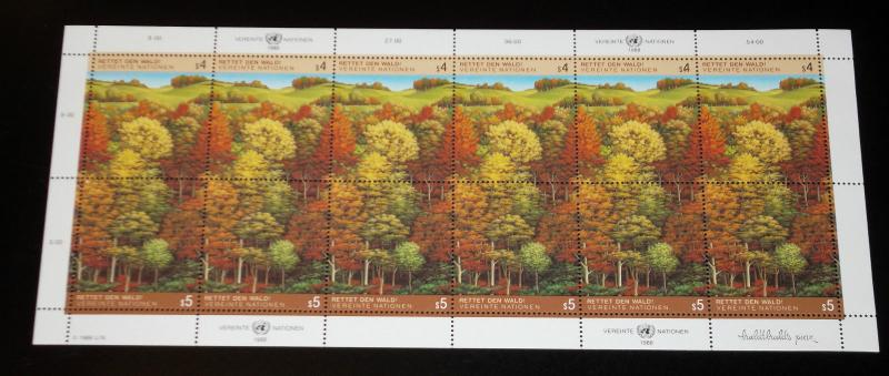UNITED NATIONS, VIENNA,1988,SURVIVAL OF THE FORESTS PANE/12, MNH, NICE! LQQK!