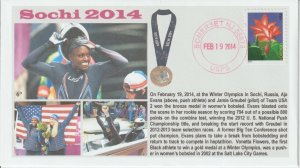 6° Cachets Sochi 2014 Team USA Aja Evens Jamie Greubel Bronze Medal Bobsled