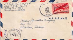 United States Fleet Post Office 6c Transport 1943 U.S. Navy 32nd Naval Constr...