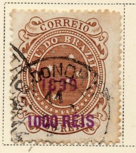 Brazil 1899 Early Issue Fine Used 1000r. Surcharged Optd NW-12093