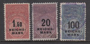 Germany, Saxony, 1925 Stempelmarke Revenues, 3 different RM denominated, used.