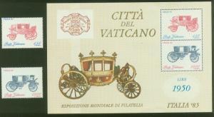 VATICAN 766-767a. ITALIA'85 PHILATELIC EXHIBITION. SS. MINT, NH. F-VF. (14)