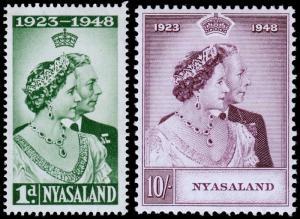 Nyasaland Protectorate Scott 85-86 (1948) Mint NH VF, CV $19.25 C
