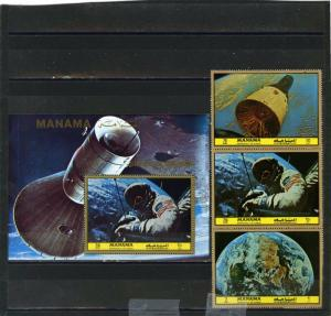 MANAMA 1972 SPACE RESEARCH SET OF 3 STAMPS & S/S PERF. MNH