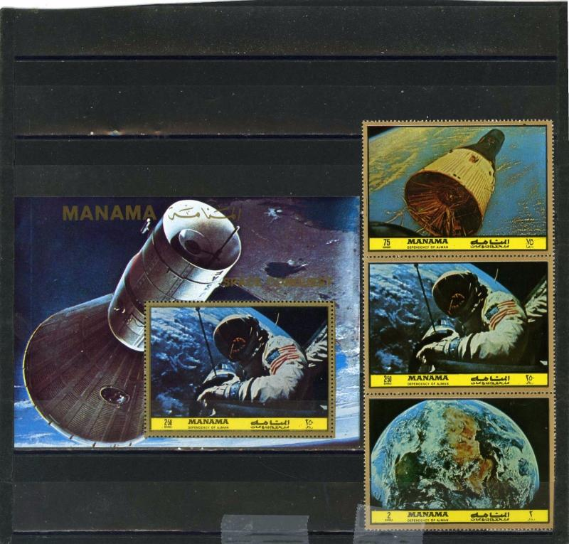 MANAMA 1972 SPACE RECEARCH SET OF 3 STAMPS & S/S PERF. MNH