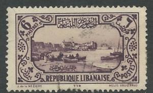 Lebanon #128 Tyre Harbor 6p.   (1) VF USED