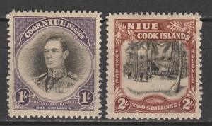 NIUE 1938 KGVI PICTORIAL 1/- AND 2/- SINGLE STAR NZ WMK