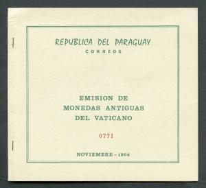 PARAGUAY VATICAN COINS  GOLD STAMPS PRESENTATION S/S IN  FOLDER  SCOTT#B12/15