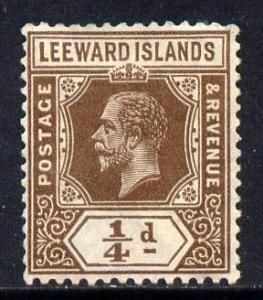 Leeward Islands 1921-32 KG5 Script CA 1/4d brown Die I mo...