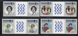 Bermuda Sc 469-72 1985 85th Birthday Queen Mother stamp set gutter pair mint NH