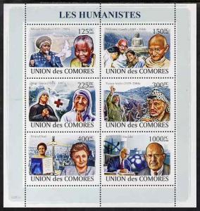 Comoro Islands 2009 Humanitarians perf sheetlet containin...