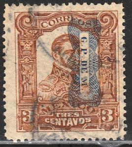MEXICO 519, 3c Corbata reading down Used. F-VF. (214)