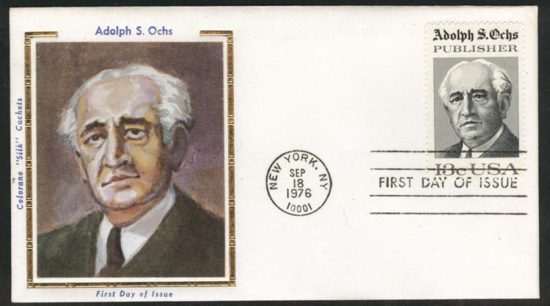 1700 FDC Alfred Ochs on Colorano Silk Cache U/A